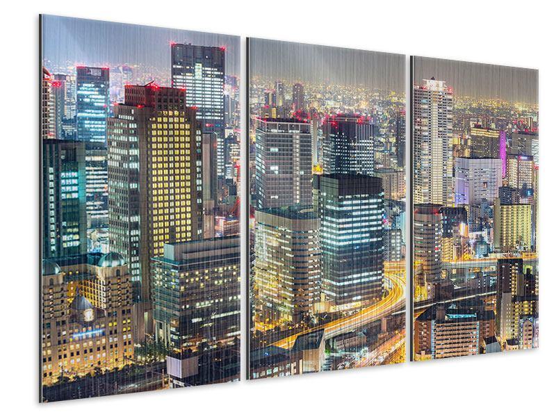 Metallic-Bild 3-teilig Skyline Osaka im Lichtermeer