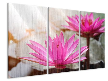 Metallic-Bild 3-teilig Lotus-Duo