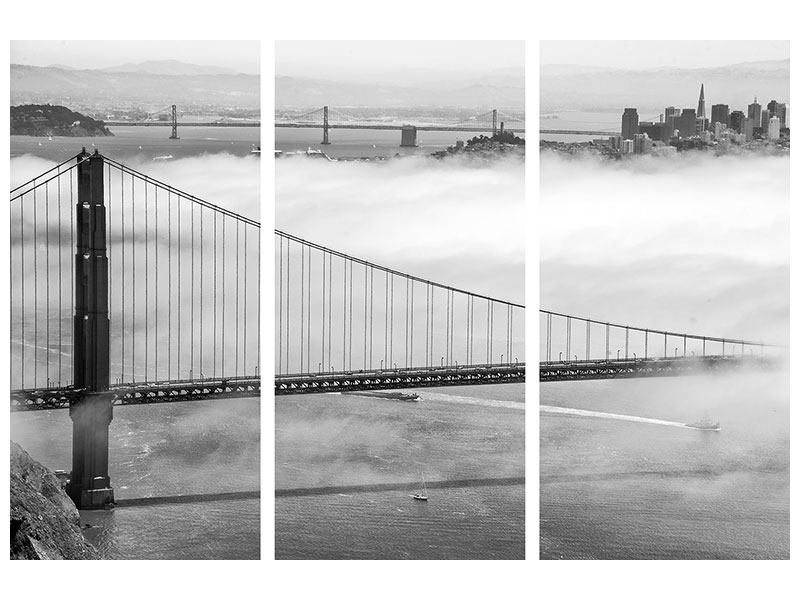 Metallic-Bild 3-teilig Golden Gate Brücke