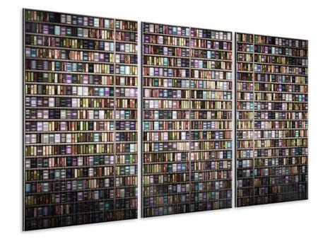 Metallic-Bild 3-teilig Bücherregal