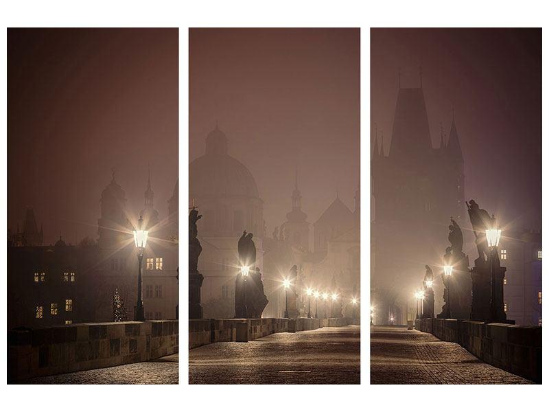 Metallic-Bild 3-teilig Die Karlsbrücke bei Nacht