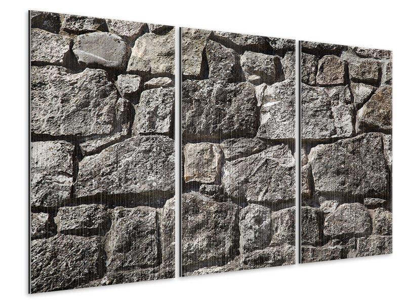 Metallic-Bild 3-teilig Grosses Mauerwerk