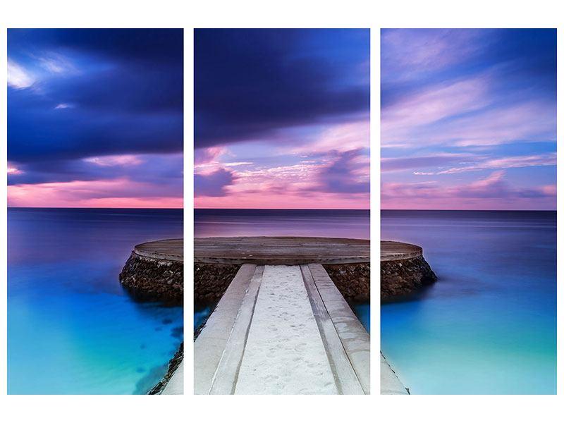 Metallic-Bild 3-teilig Meditation am Meer
