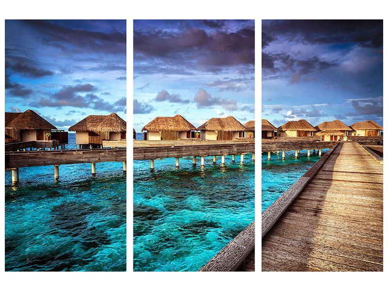 Metallic-Bild 3-teilig Traumhaus im Wasser