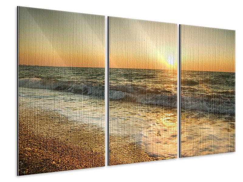 Metallic-Bild 3-teilig Sonnenuntergang am Meer