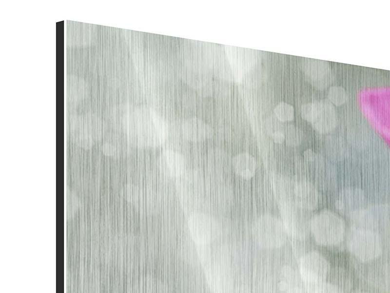 Metallic-Bild 3-teilig Libelle auf dem Seerosenblatt