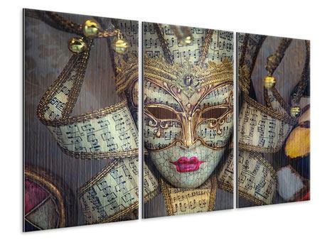 Metallic-Bild 3-teilig Venezianische Maske