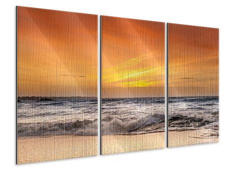 Metallic-Bild 3-teilig See mit Sonnenuntergang