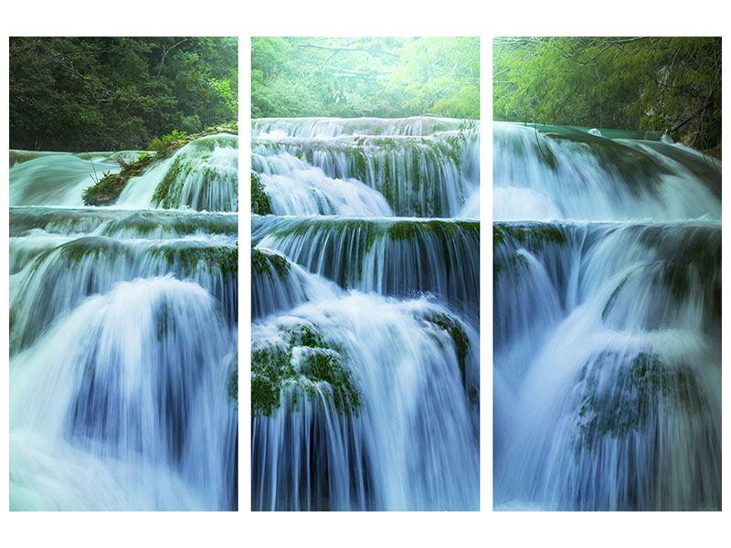 Metallic-Bild 3-teilig Gigantischer Wasserfall