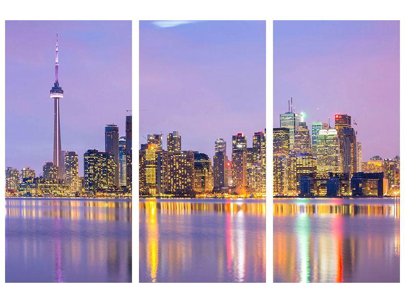 Metallic-Bild 3-teilig Skyline Toronto bei Nacht
