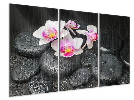 Metallic-Bild 3-teilig Feng-Shui-Orchidee Zen
