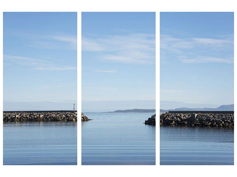 Metallic-Bild 3-teilig Hafenmauern