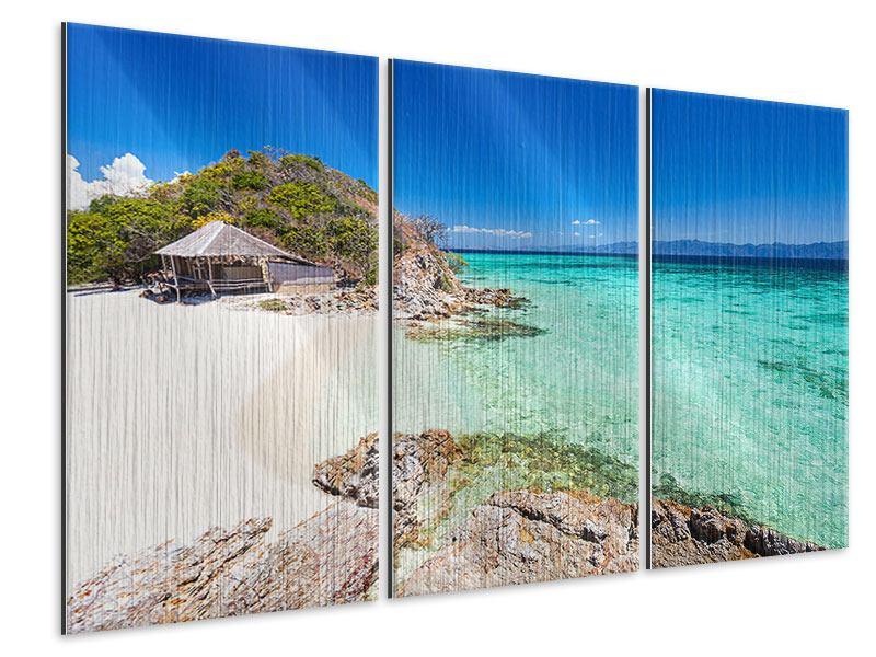 Metallic-Bild 3-teilig Das Haus am Strand