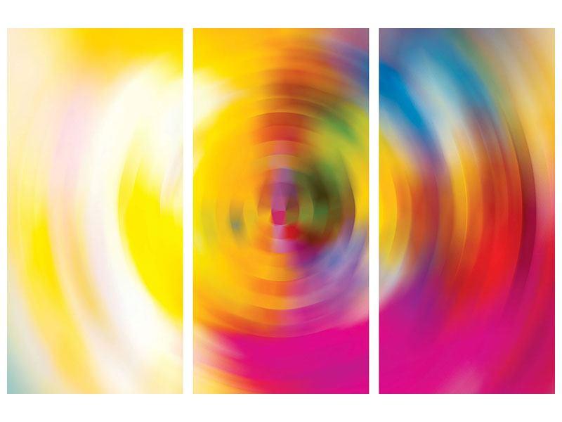 Metallic-Bild 3-teilig Abstrakte Farbkreise