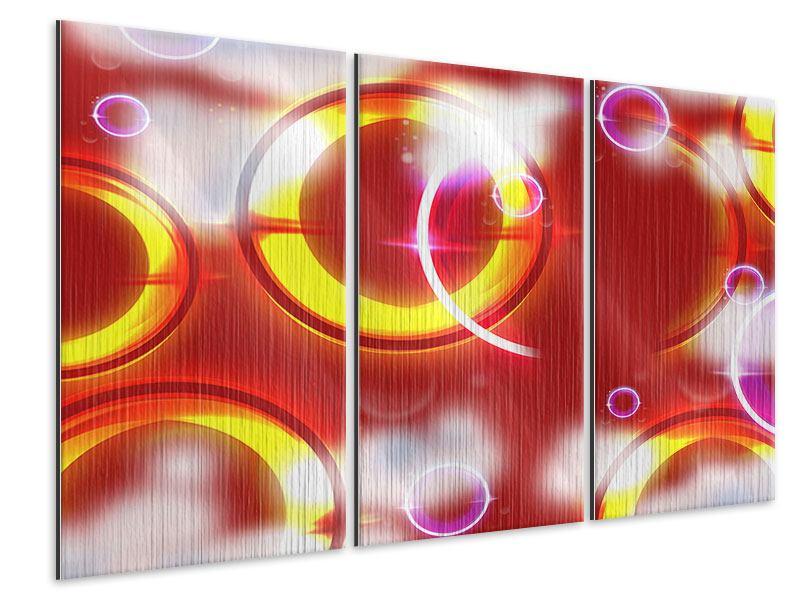 Metallic-Bild 3-teilig Abstraktes Retro