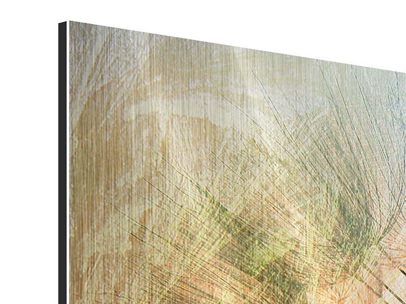 Panorama Metallic-Bild 3-teilig XXL Pusteblume