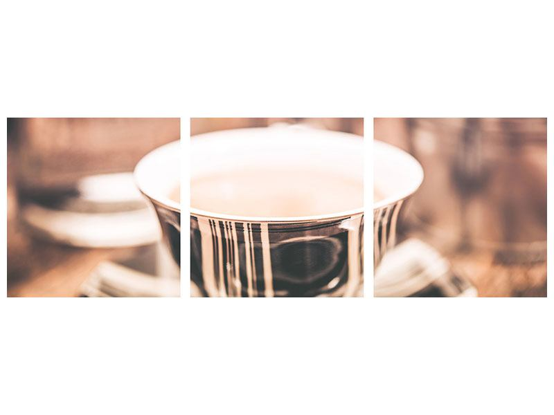 Panorama Metallic-Bild 3-teilig Der Kaffee ist fertig