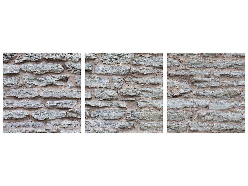 Panorama Metallic-Bild 3-teilig Steinmauer