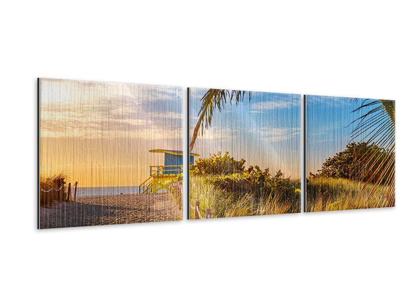 Panorama Metallic-Bild 3-teilig Sandkörner