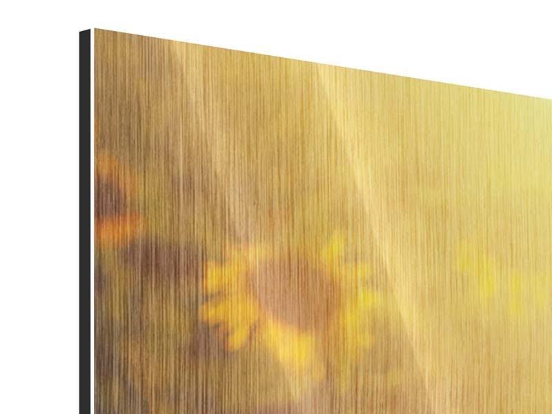 Panorama Metallic-Bild 3-teilig Sonnenblumen im goldenen Licht