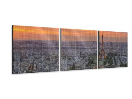 Panorama Metallic-Bild 3-teilig Skyline Paris bei Sonnenuntergang