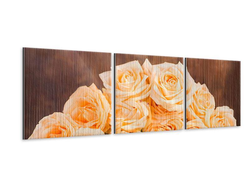 Panorama Metallic-Bild 3-teilig Die Rosenzeit