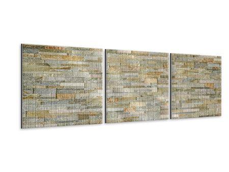 Panorama Metallic-Bild 3-teilig Edle Steinmauer
