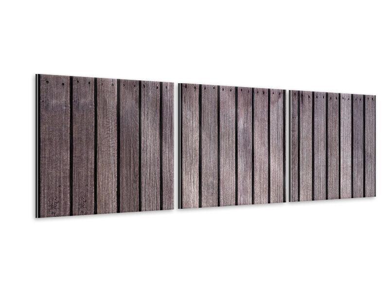Panorama Metallic-Bild 3-teilig Holzwand