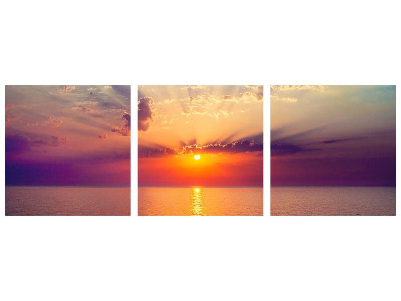 Panorama Metallic-Bild 3-teilig Mystischer Sonnenaufgang