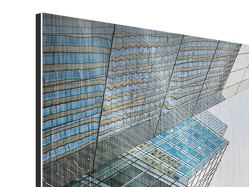 Panorama Metallic-Bild 3-teilig Hochhäuser