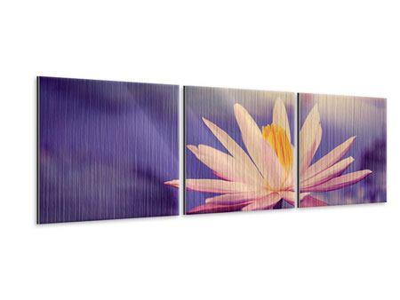 Panorama Metallic-Bild 3-teilig Lotus bei Sonnenuntergang