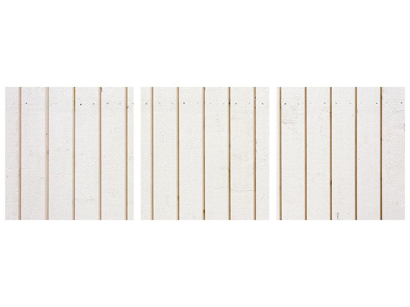 Panorama Metallic-Bild 3-teilig Mediterranes Holz