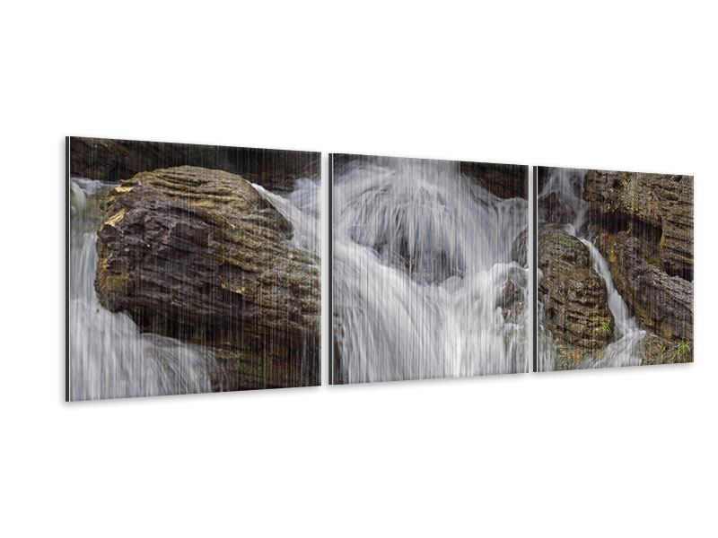 Panorama Metallic-Bild 3-teilig Wasserfall XXL