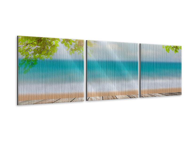 Panorama Metallic-Bild 3-teilig Strandterrasse