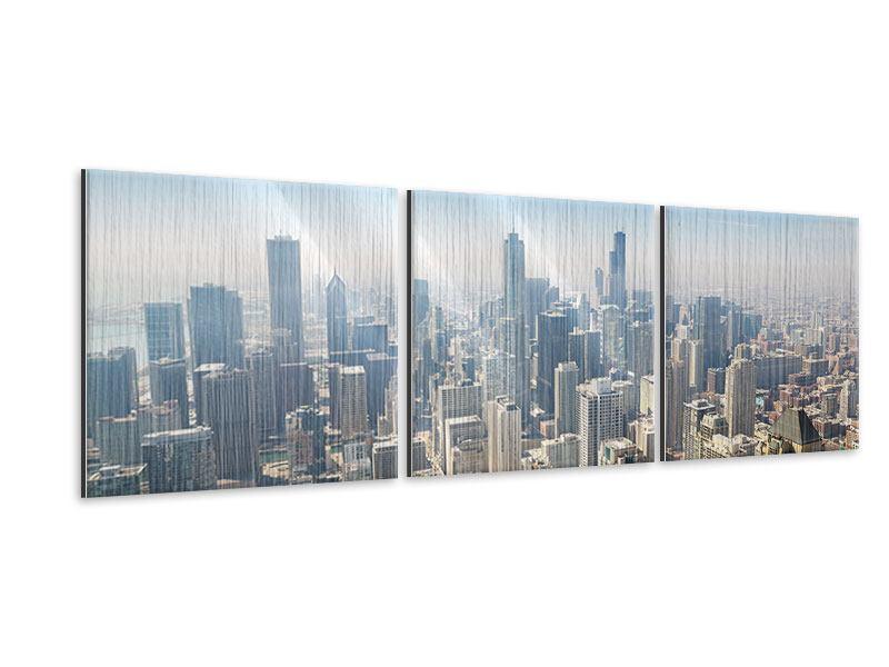 Panorama Metallic-Bild 3-teilig Wolkenkratzer Chicago