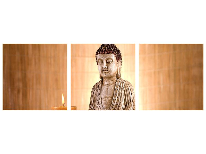Panorama Metallic-Bild 3-teilig Buddha in der Meditation
