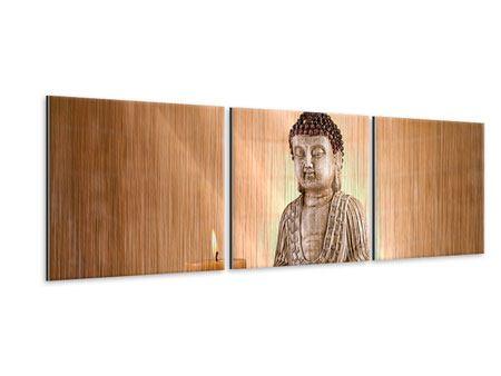 Panorama Metallic-Bild 3-teilig Buddha in der Meditation