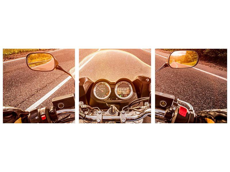 Panorama Metallic-Bild 3-teilig Motorrad-Tour