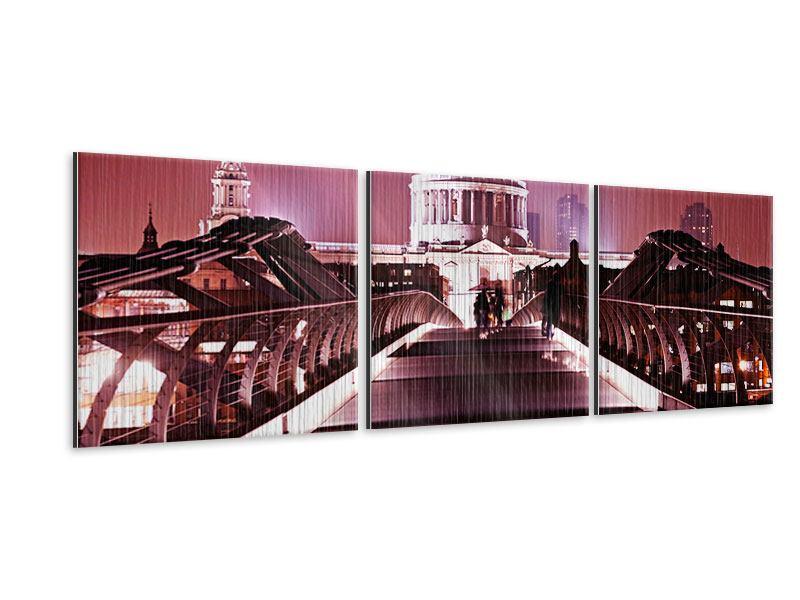 Panorama Metallic-Bild 3-teilig Millennium Bridge