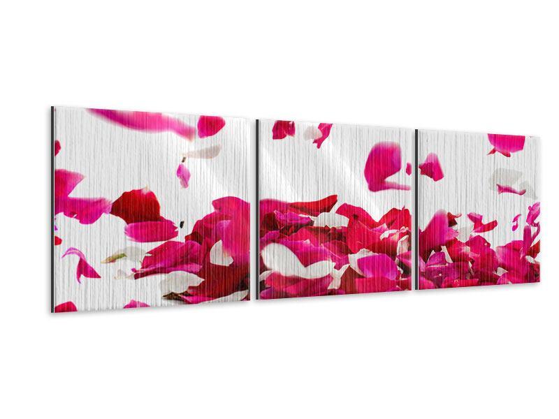 Panorama Metallic-Bild 3-teilig Für mich soll`s rote Rosen regnen