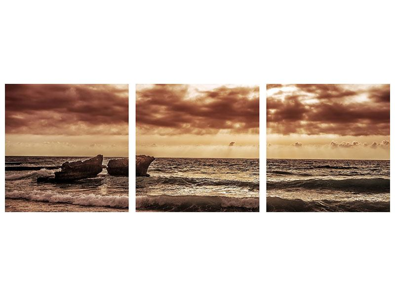 Panorama Metallic-Bild 3-teilig Meeresrauschen