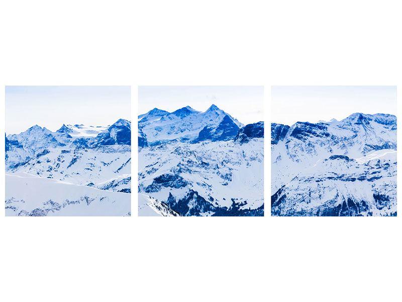 Panorama Metallic-Bild 3-teilig Die Schweizer Alpen