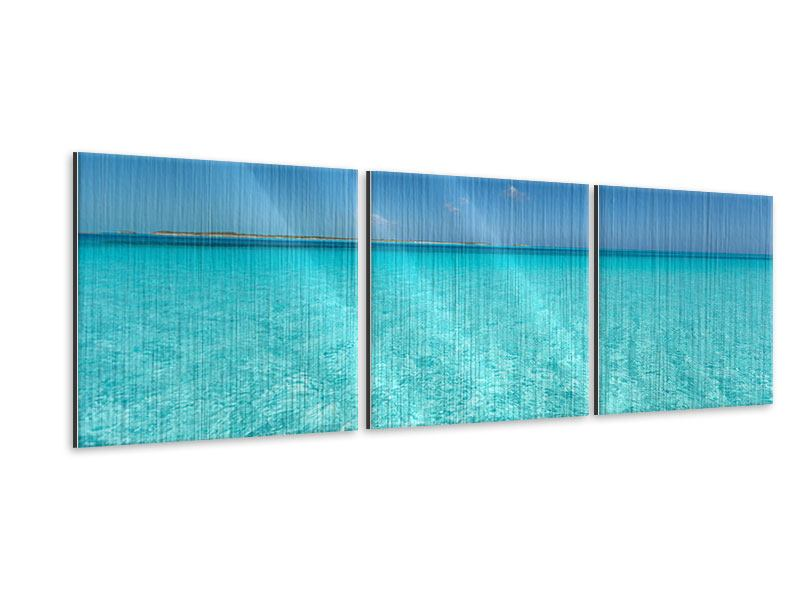 Panorama Metallic-Bild 3-teilig Das Meer und Jules Verne