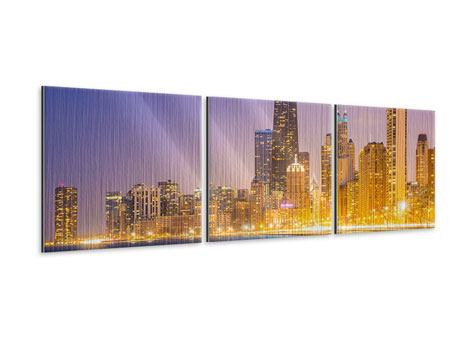 Panorama Metallic-Bild 3-teilig Skyline Chicago in der Nacht
