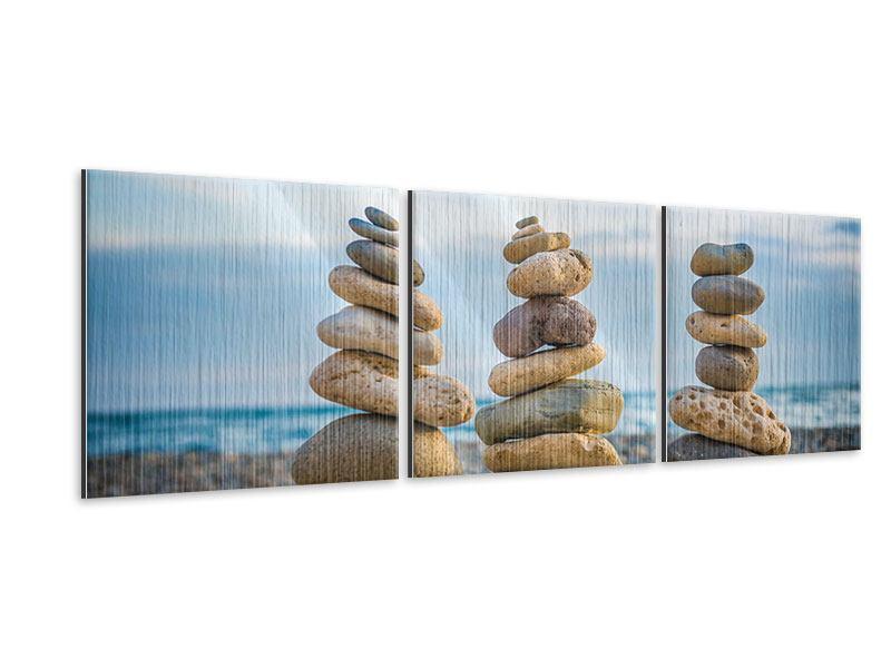 Panorama Metallic-Bild 3-teilig Drei Steinstapel