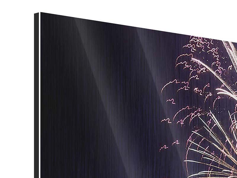 Panorama Metallic-Bild 3-teilig Feuerwerk