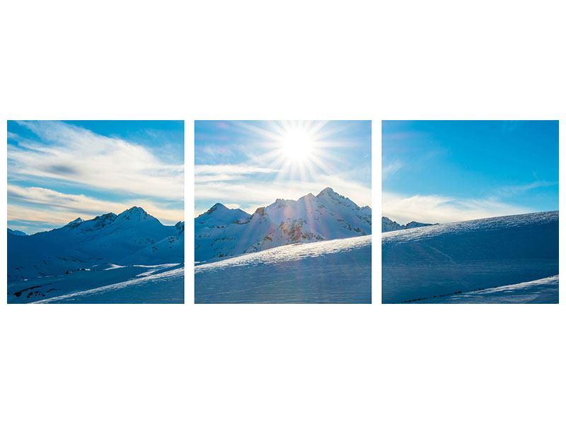 Panorama Metallic-Bild 3-teilig Ein Wintermärchen in den Bergen