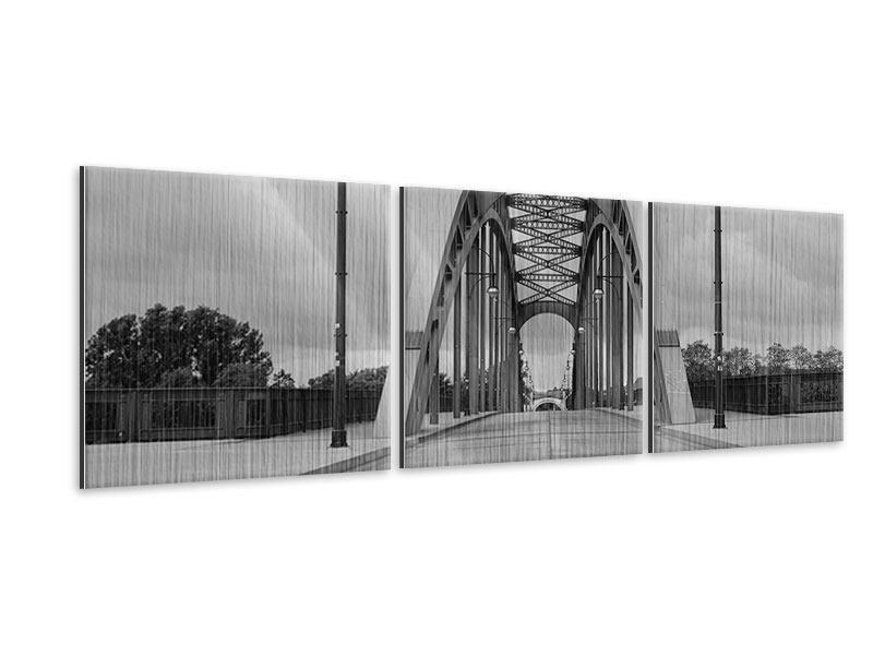 Panorama Metallic-Bild 3-teilig Poetische Brücke