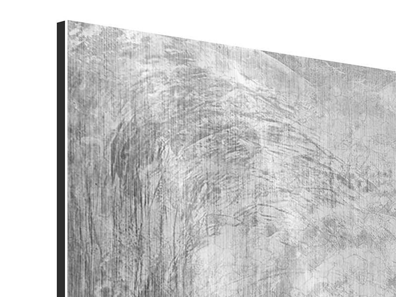 Panorama Metallic-Bild 3-teilig Wischtechnik in Grau