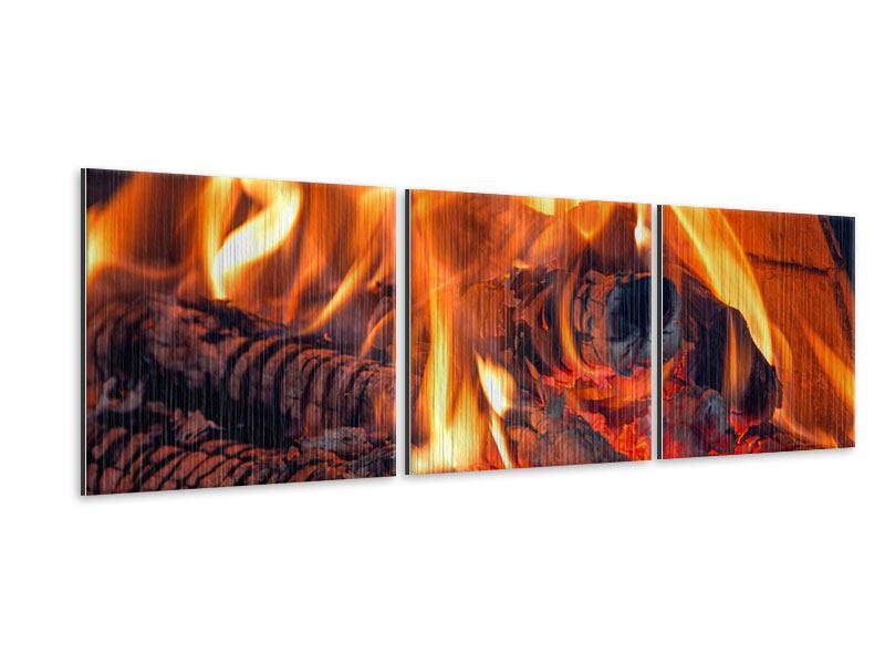 Panorama Metallic-Bild 3-teilig Lagerfeuer